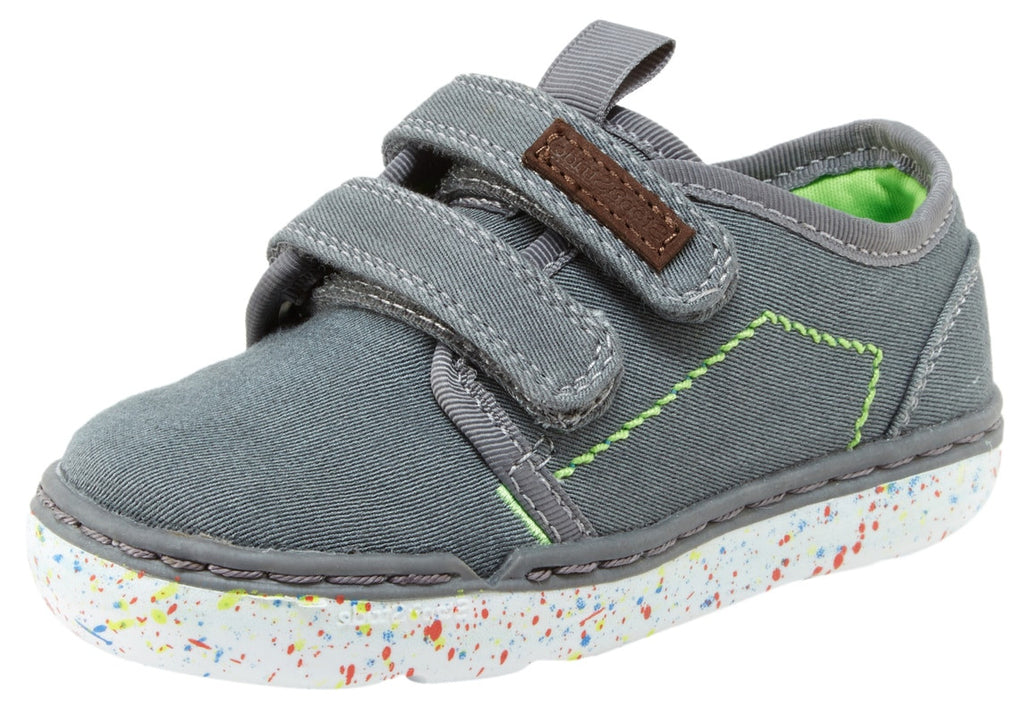 Step & Stride Aden Grey Double Hook and Loop Paint Splatter Sole Strap Sneaker
