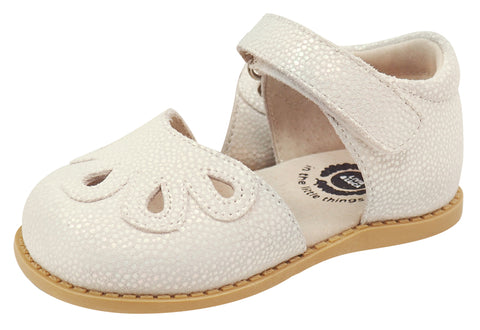 Livie & Luca Girl's Petal Leather Mary Jane, White Opal