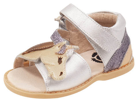 Livie & Luca Girl's Unicorn Sandals, Silver Metallic