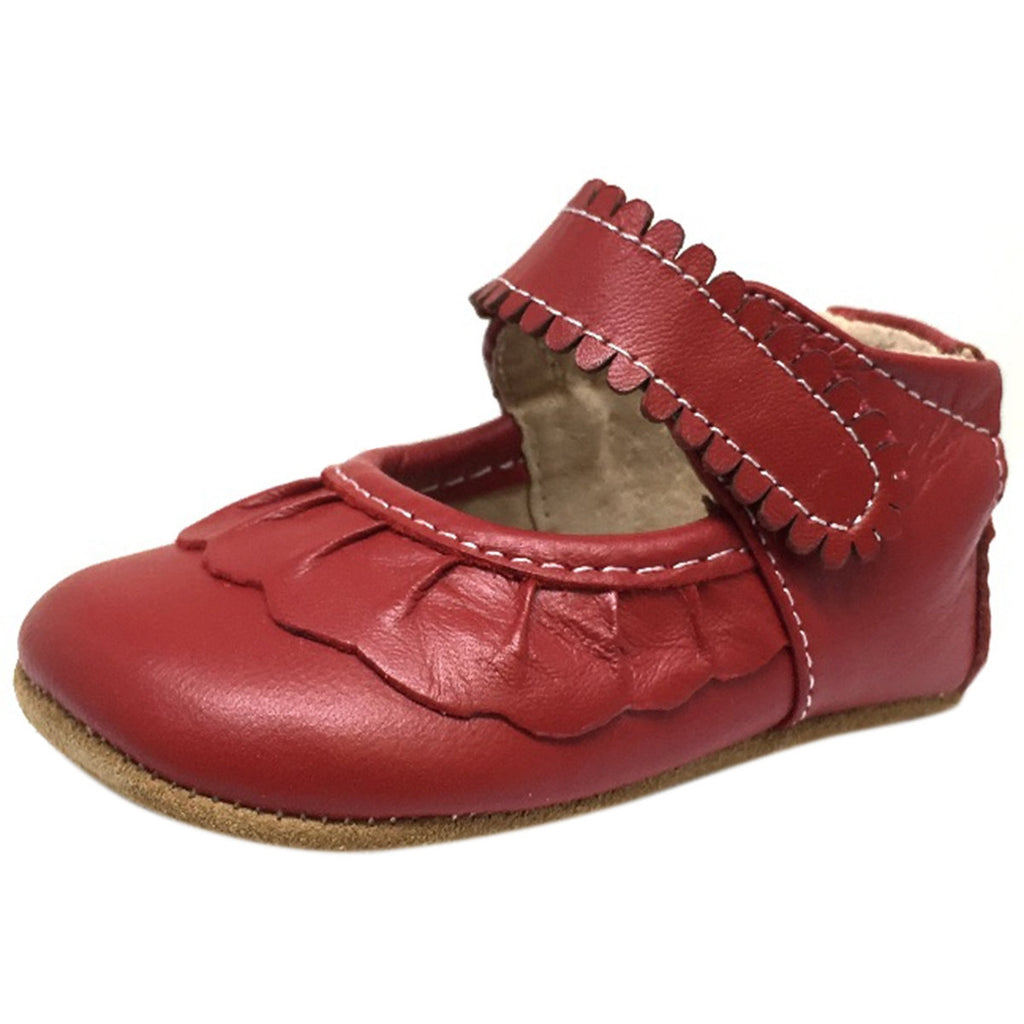 Livie & Luca Girl's Ruche Ruffled Leather Hook and Loop Mary Jane Shoe Red