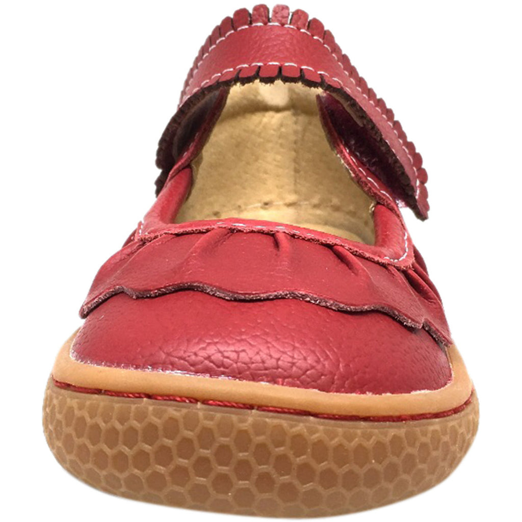 Livie & Luca Girl's Scarlet Ruche Ruffled Leather Hook and Loop Mary Jane Shoe Red