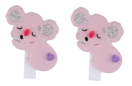 Lilies & Roses NY Girl's Alligator Clip Sleeping Koala Pink Pair