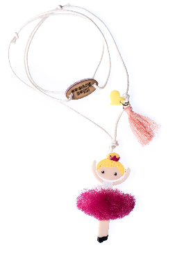Lilies & Roses NY Girl's Ballerina Pink Necklace