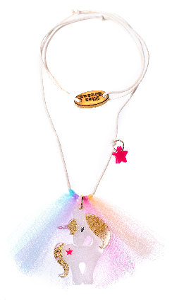 Lilies & Roses NY Girl's Unicorn Gold Glitter Necklace