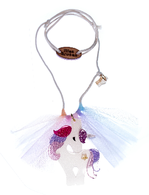 Lilies & Roses NY Girl's Unicorn Colorful Glitter Necklace