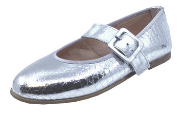 Clarys Girl's Plata Buckle Mary Jane Shoes, Silver