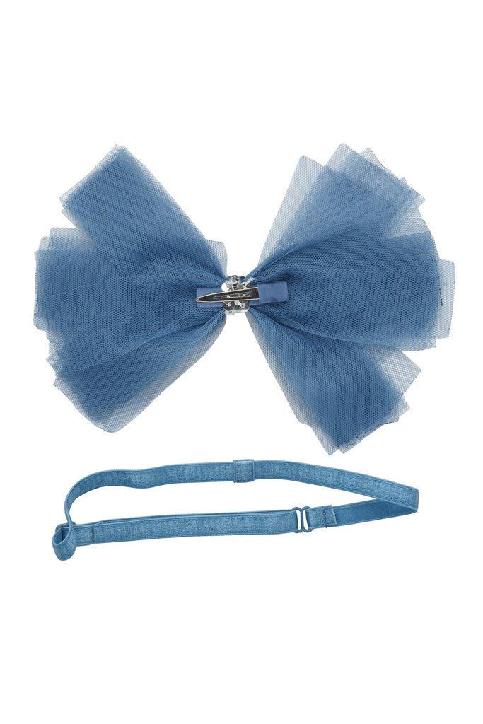 Project 6 NY Smoke Blue Soft Tulle Strips Clip + Wrap