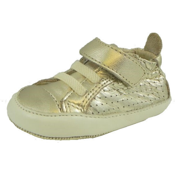 Old Soles Girl's and Boy's Cheer Bambini Gold Leather First-Walker Sneaker - Just Shoes for Kids  - 1