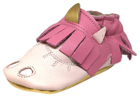 Shooshoos Girl's Soft Leather Pink Fringe Slip On Elastic Fun Unicorn Character Baby Crib Shoe