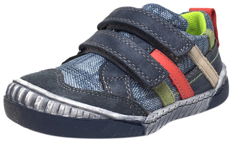 Beeko Boy's Zaan II Denim and Navy Leather Double Hook and Loop Strap Sneaker Shoe