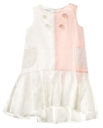 FUN & FUN Girl's BDR3297 Striped Dress - Peach, Cream