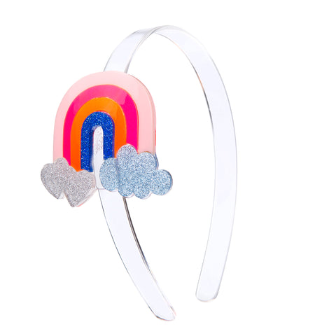 Lilies & Roses NY Girl's Rainbow with Hearts Clouds Headband