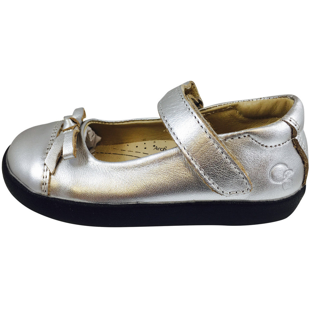 Old Soles Girl's 313 Sista Flat Silver Leather with Black Sole Hook and Loop Mary Jane Flats