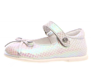Naturino Ballet Mary Jane Shoes, Snake Silver