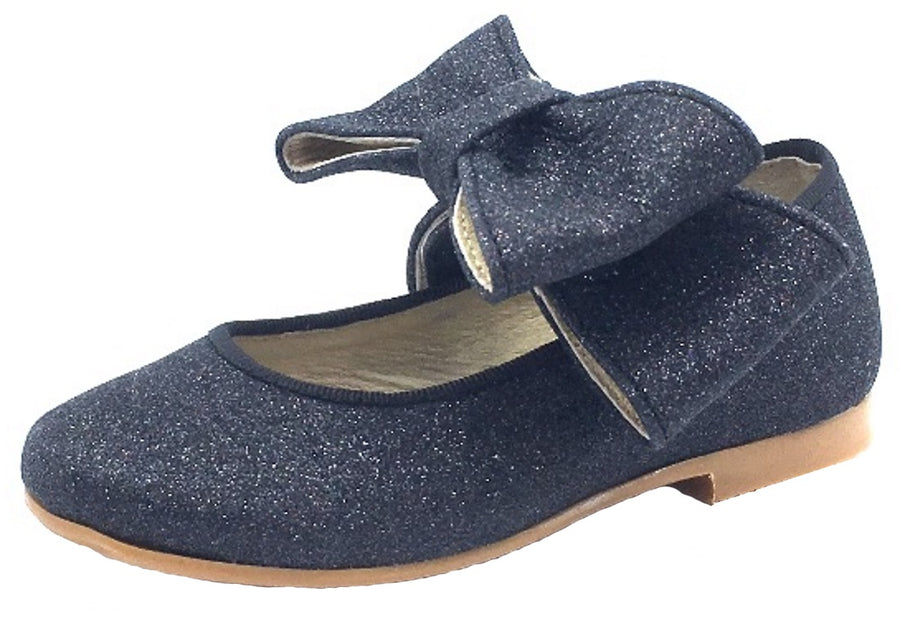 Luccini Girl's Mary Jane with Big Bow, Black Sparkle Leather