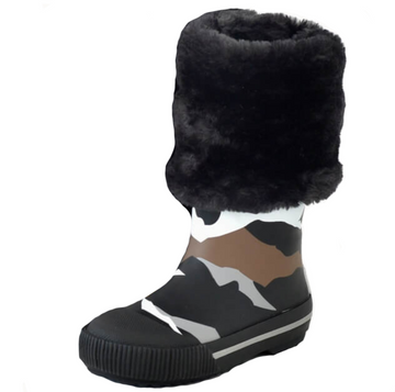 Boxbo Girl's and Boy's Mountain Camo Print Faux Fur Rain Boot
