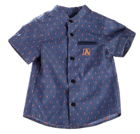 Attic 21 Boy's NSH4227 Blue And Orange Shirt - Multi