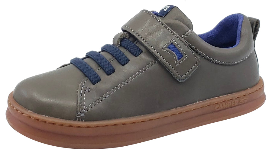Camper Runner Sneaker Grey Leather Elastic Hook and Loop for Boy's