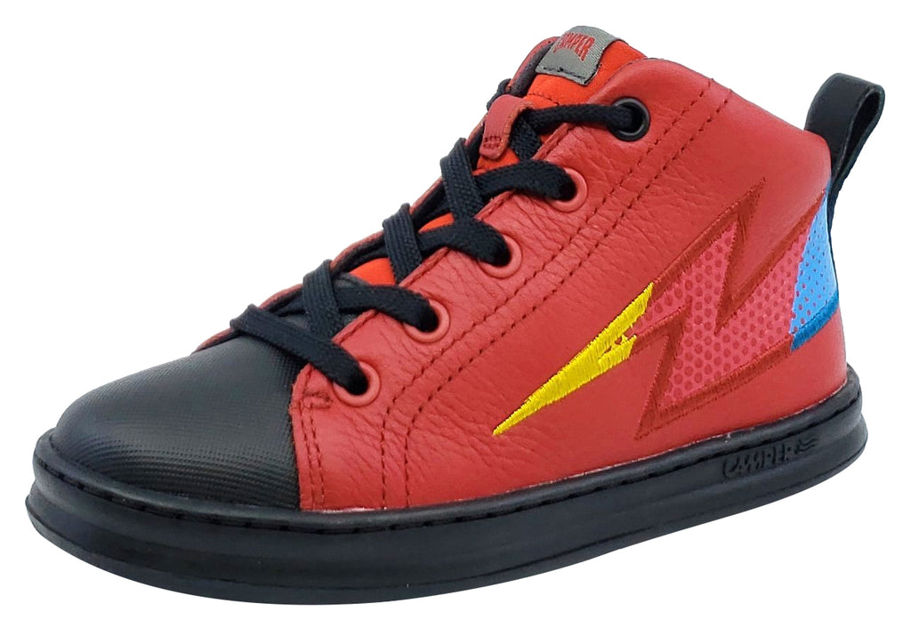 Camper Runner Four Trueno Leather Hightop Laces Red Junior for Boy's