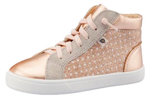 Old Soles Girl's Street Glam High Top Leather Sneakers, Star Glam Copper