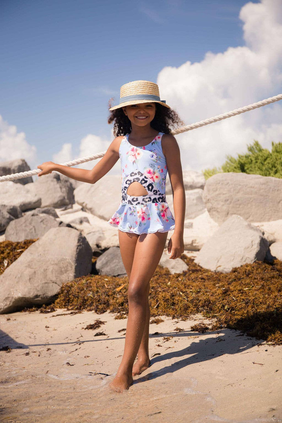 Blueberry Bay Dream Weaver Boater Style Sun Hat