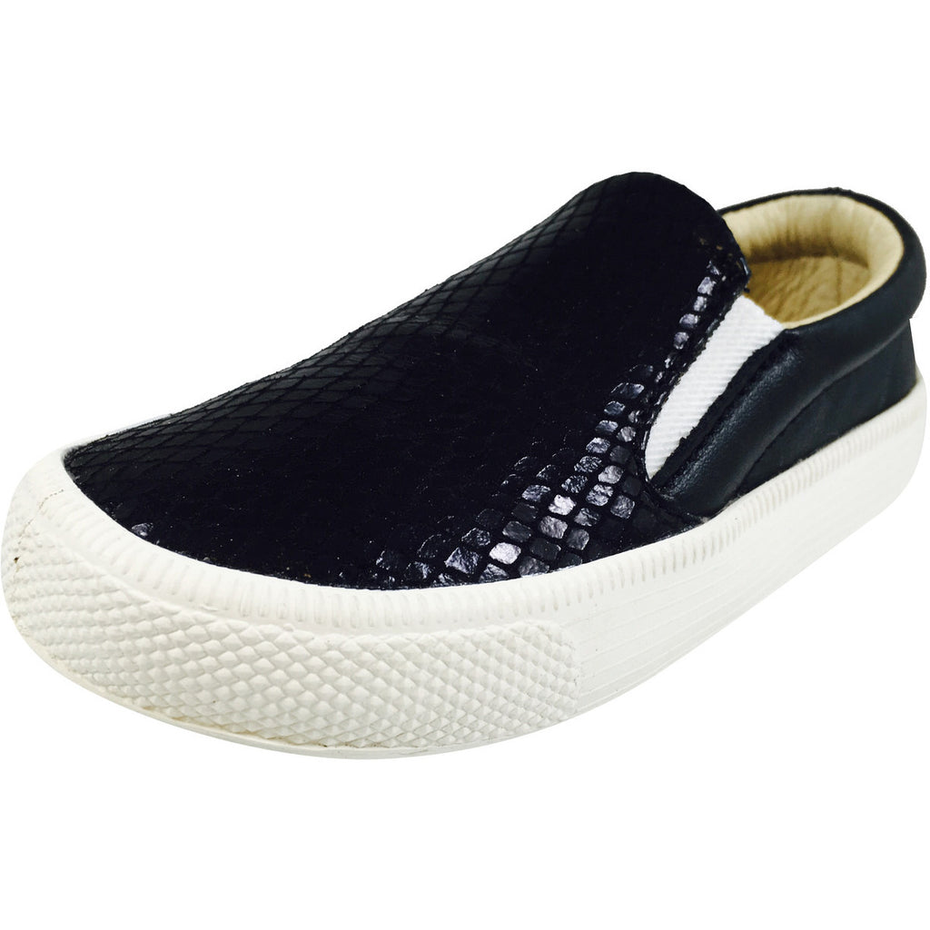 Old Soles 1051 Girl's and Boy's Black Snake Leather Slip On Sneaker - Just Shoes for Kids  - 1