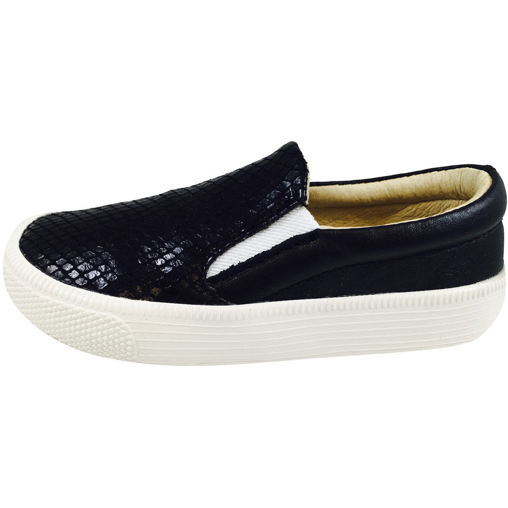 Old Soles 1051 Girl's and Boy's Black Snake Leather Slip On Sneaker - Just Shoes for Kids  - 2