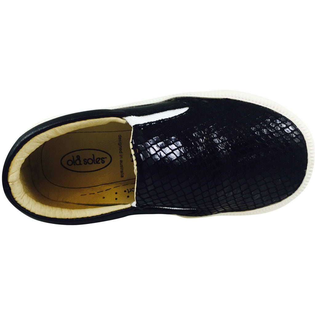 Old Soles 1051 Girl's and Boy's Black Snake Leather Slip On Sneaker - Just Shoes for Kids  - 6