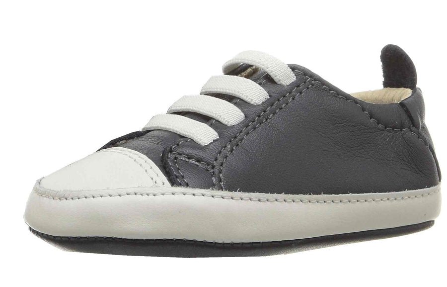 Old Soles Boy's & Girl's 030 Eazy Tread Navy White Soft Leather Classic Slip On Baby Shoes