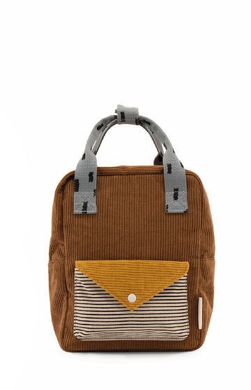 Sticky Lemon Corduroy Collection Envelope Small Backpack, Walnut Brown/Mari Gold/Steel Blue