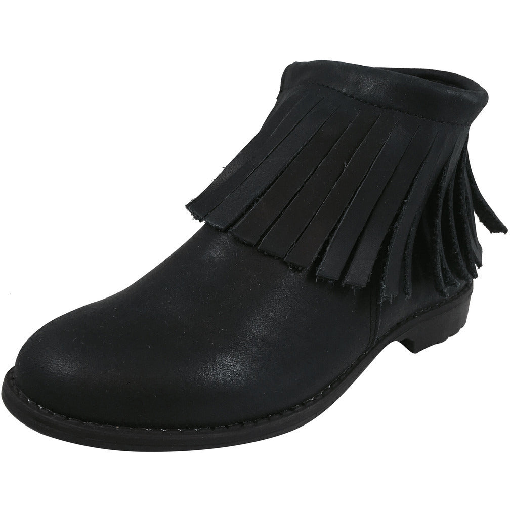 Old Soles Girl's 2012 Ever Boot Black Leather Fringe Zipper Bootie Shoe - Just Shoes for Kids  - 1