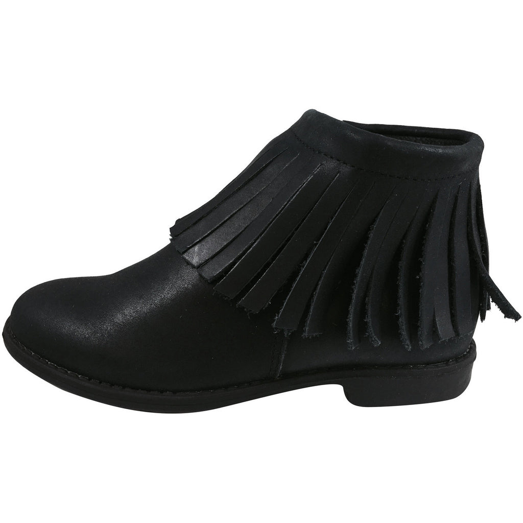 Old Soles Girl's 2012 Ever Boot Black Leather Fringe Zipper Bootie Shoe - Just Shoes for Kids  - 2