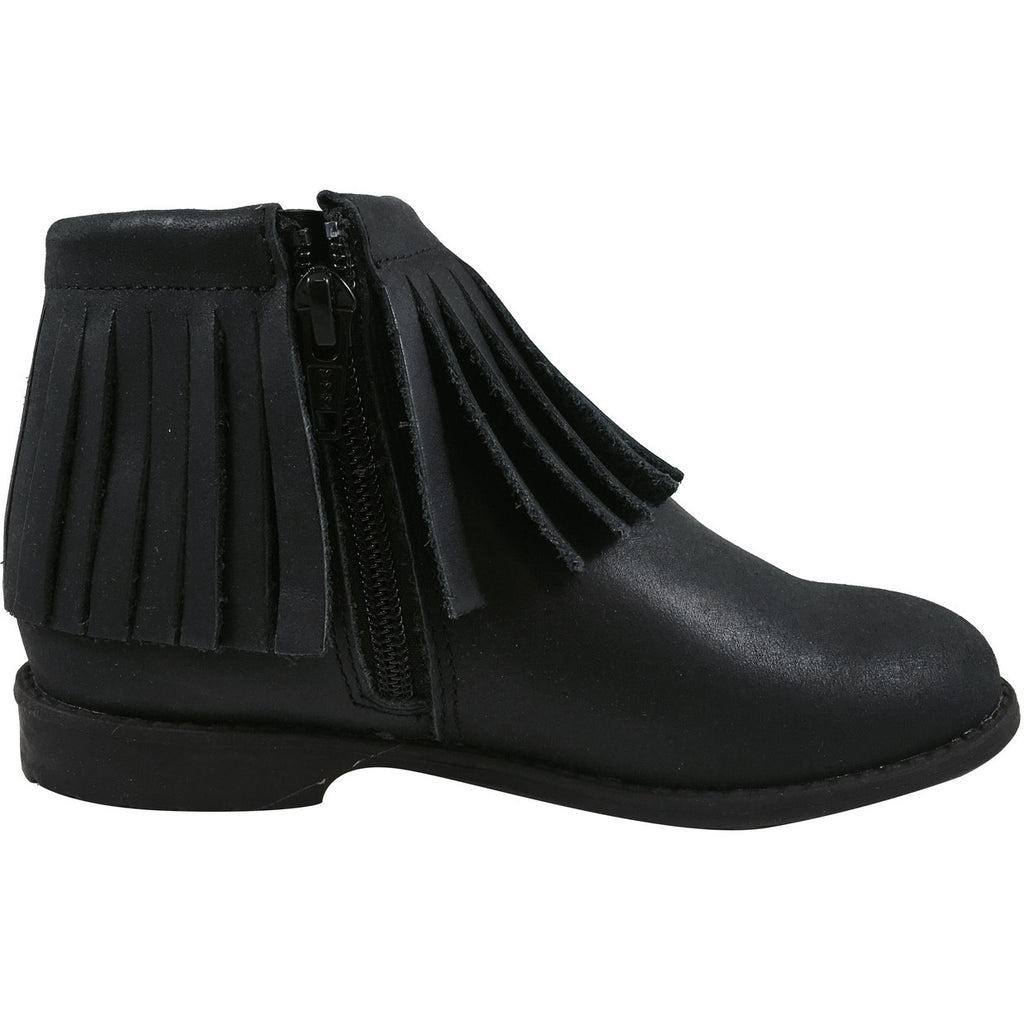 Old Soles Girl's 2012 Ever Boot Black Leather Fringe Zipper Bootie Shoe - Just Shoes for Kids  - 3