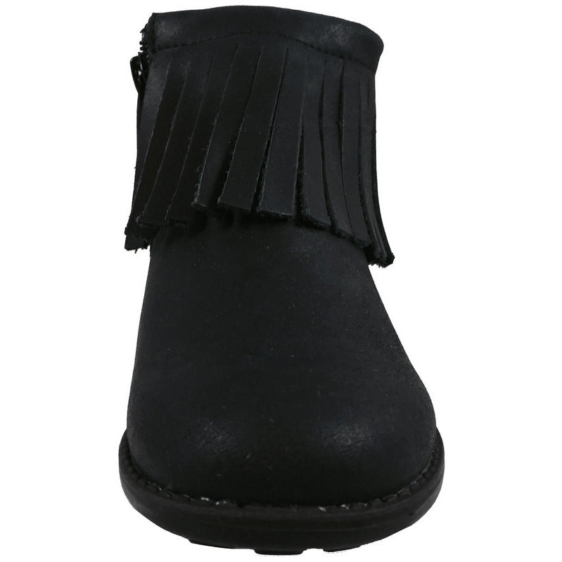 Old Soles Girl's 2012 Ever Boot Black Leather Fringe Zipper Bootie Shoe - Just Shoes for Kids  - 4