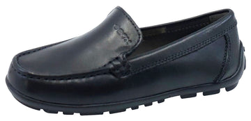 Geox Jr New Fast Mocassin Black Premium Leather Plain Slip On for Boy's