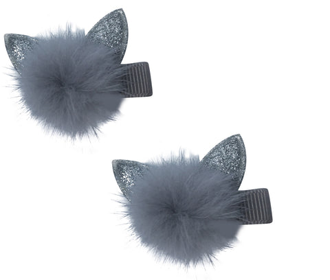 Bunk Punk Princess Silver Ears, Grey Pom Pom (Set of 2 Alligator Clips)
