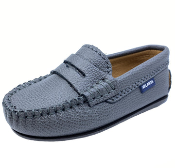 Atlanta Mocassin Boy's Penny Leather Loafers, Grey Grigio