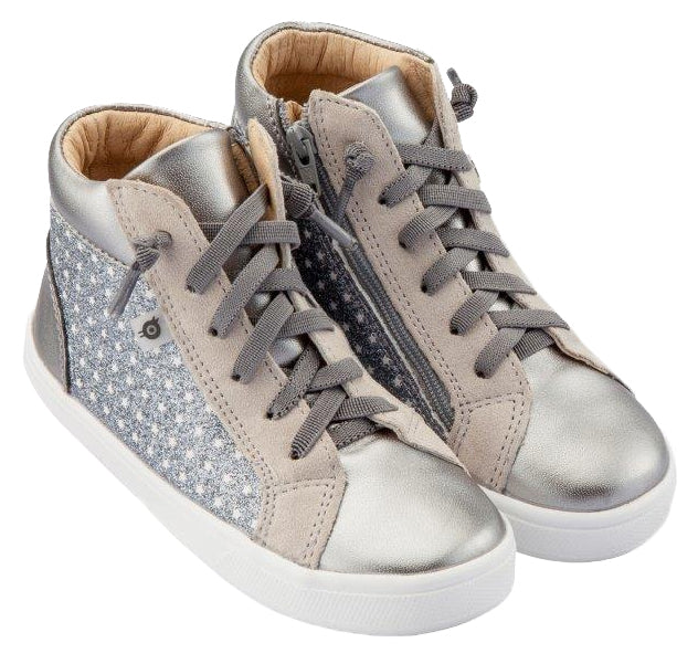 Old Soles Boy's and Girl's Street Glam High Top Leather Sneakers, Star Glam Gunmetal