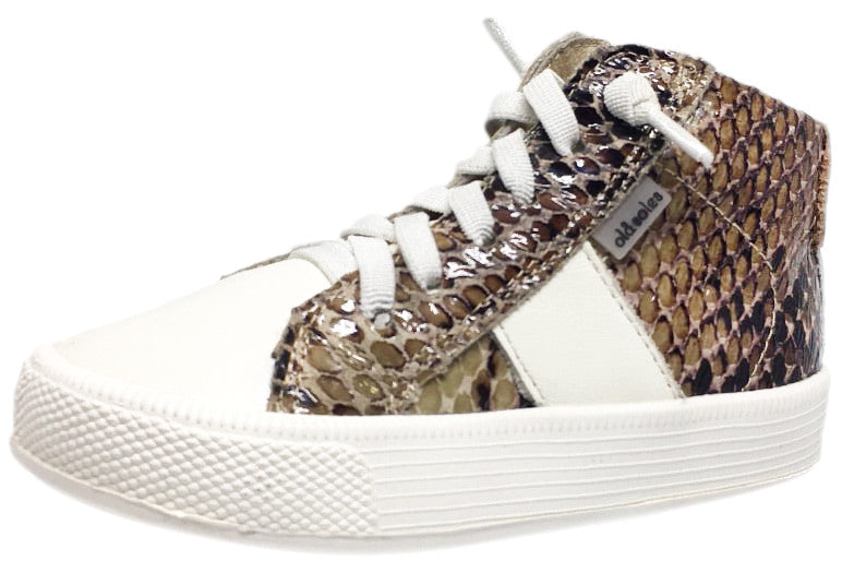 Old Soles Boy's and Girl's Python White Leather Top Shelf High Top Stripe Laced High Top Sneaker Shoe
