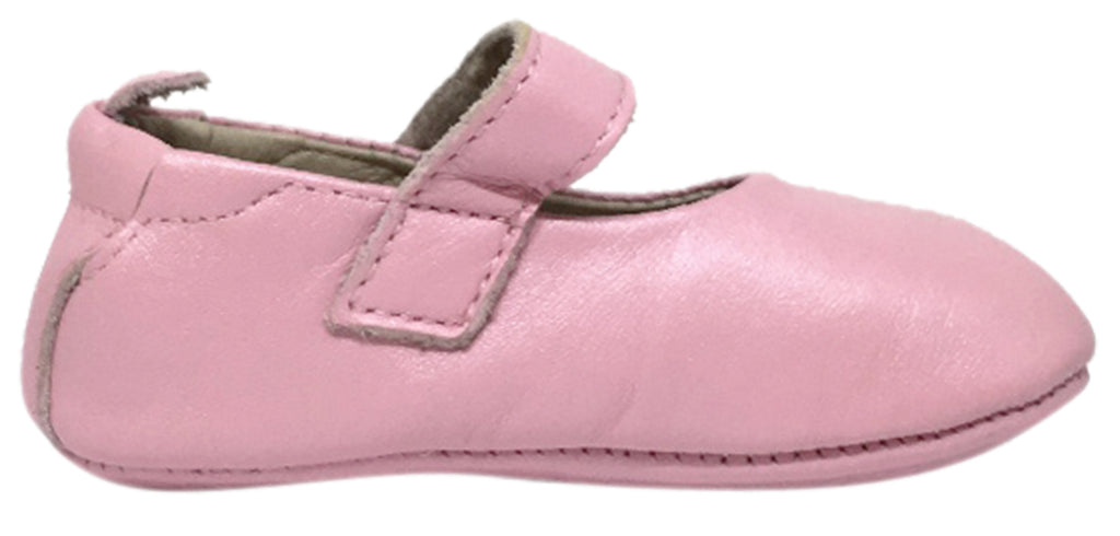 Old Soles Girl's 022 Gabrielle Pearlised Pink Soft Leather Mary Jane Crib Walker Baby Shoes