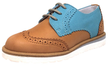 Hoo Shoes Boy's Tan & Turquoise Ralph's Smooth Leather Lace Up Platform Tip Oxford Shoe