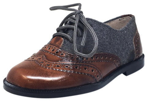 Hoo Shoes Boy's and Girl's Abe's Wingtip Brown Leather Grey Felt Flannel Lace Up Oxford Loafer Shoes