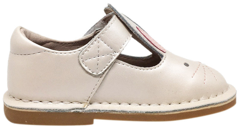 Livie & Luca Girl's Molly White Pearl Shimmer Smooth Leather Bunny Mary Jane Shoe with Hook and Loop Strap