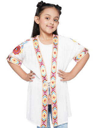 America & Beyond Aztec Embroidered Detail White Cover-Up