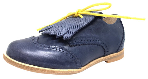 Manuela de Juan Girl's and Boy's Fringe Nuit Montana Blue Suede Leather Tassel Fringe Lace Up Oxford Shoe