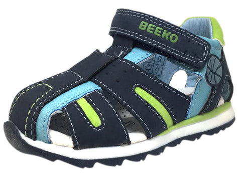 Beeko Boy's Eagle II Navy and Green Leather Single Hook and Loop Strap Fisherman Athletic Sandal