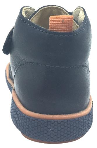 Naturino Boy's 9101 Navy Orange Smooth Leather Thick One Hook and Loop High Top Sneakers