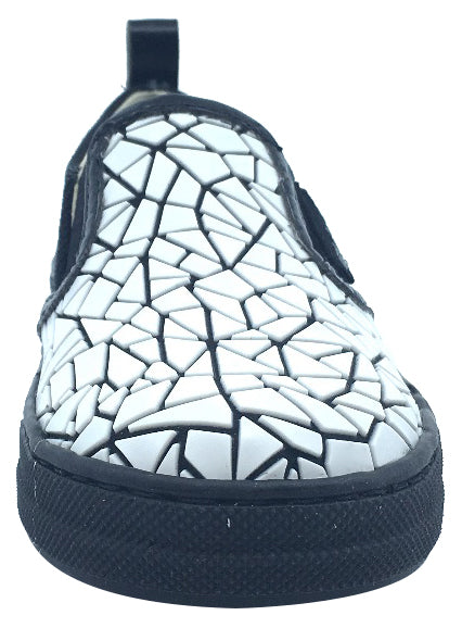 Naturino Girl's & Boy's Black and White Crackle Canvas Slip On Low Top Casual Sneaker Shoe