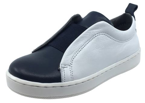 BluBlonc Boy's & Girl's White and Navy Leather with Elastic Middle Sneaker Shoe
