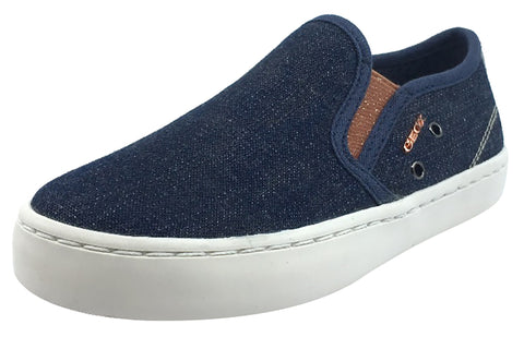 Geox Girl's Kiwi Denim Blue Canvas Slip On Sporty Low Top Sneaker Shoe